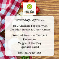 Thursday 4/22/21 - Cheddar BBQ Chicken - $45 Full/$30 Half