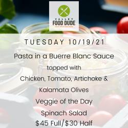 Tuesday 10/19 - Pasta - $45/$30